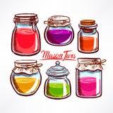 Tarros de albañil coloridos Imágenes de archivo libres de regalías