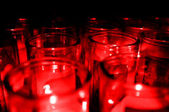 Tarros de Candelight de cristal Candel Red Glow Fotografía de archivo