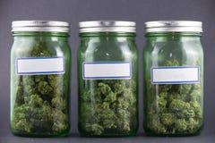 Tarros de cristal del cáñamo sobre el fondo gris - marijuana médica SID imagen de archivo