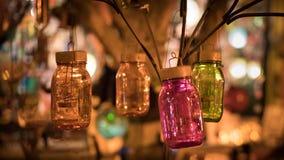 Tarros de cristal en el escaparate Foto de archivo