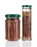 Tarros de prendederos de la anchoa Imagen de archivo libre de regalías