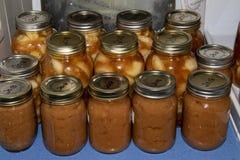 Tarros de relleno de la compota y de la empanada de manzanas foto de archivo libre de regalías