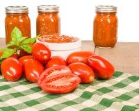 Tarros de salsa con los tomates y la albahaca de la goma Foto de archivo libre de regalías