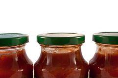 Tarros de salsa de pastas. Imagenes de archivo