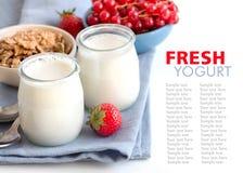 Tarros de yogur, de bayas y de muesli naturales frescos fotografía de archivo libre de regalías