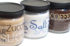 Tarros del café, del azúcar y de la sal Foto de archivo libre de regalías