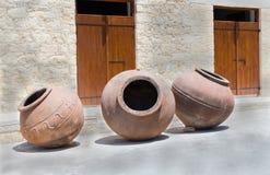 Tarros del vino del vintage, pythari Foto de archivo