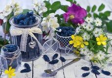 Tarros del vintage con la baya y las flores de la madreselva Fotos de archivo