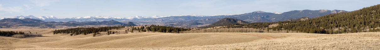 Tarryall panorama 1. Very wide panorama of the central Rocky Mountains in early winter near Tarryall Reservoir near South Park in Colorado, USA.  WARNING!  Very Royalty Free Stock Photo