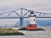 Tarrytown Lighthouse. And Tappan Zee Bridge on the Hudson River in New York Royalty Free Stock Photo