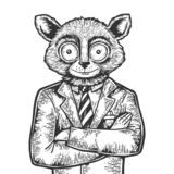 Tarsier businessman sketch engraving vector. Tarsier head businessman sketch engraving vector illustration. Scratch board style imitation. Black and white hand royalty free illustration