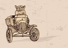 Tarsier driving an old car. Sepia stock illustration