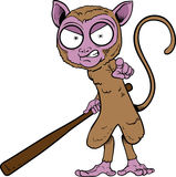 Tarsier. Image of a tarsier with baseball bat vector illustration