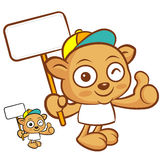 Tarsier mascot the hand is holding a picket. Animal Character De Royalty Free Stock Photos