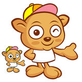 Tarsier Mascot the Left hand best gesture. Animal Character Desi Royalty Free Stock Image