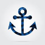 A tartã azul, preta isolou o ícone - âncora do barco Imagem de Stock Royalty Free