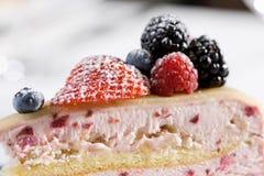 Tart. Sour cream cheesecake with raspberries and blackberries Stock Photo