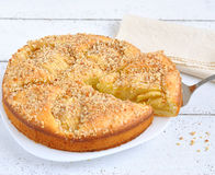 Tart with apples and almonds Royalty Free Stock Photo