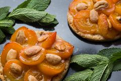 Tart with apricot. Traditional french pie with fruits on dark marble background. Decorated almonds and mint leafs. Delicious dessert with copy space closeup Stock Photo