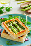 Tart of asparagus Stock Photos