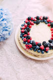 Tart with berries and custard Royalty Free Stock Photo