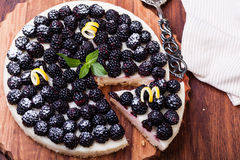 Tart with blackberry Stock Images