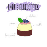 Tart and blueberries stock illustration
