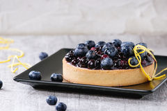 Tart with blueberries Stock Photo