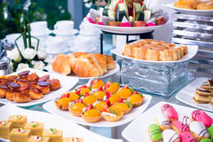 Tart and cake buffet Royalty Free Stock Photo