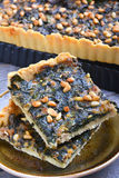 Tart with chard and minced. On wooden table Stock Images