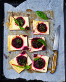 Tart with cheese and beet Royalty Free Stock Images