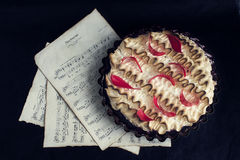 Tart with cherry confiture and meringue Royalty Free Stock Image