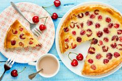 Tart with cherry and sour cream filling, fruit pie, summer cake. With fruit Stock Images