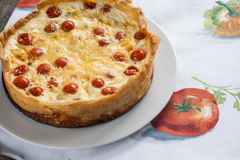 Tart with a cherry tomatoes and cheese Royalty Free Stock Images