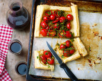 Tart with cherry tomatoes and herbs Stock Photography