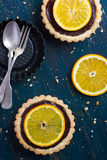 Tart with chocolate and orange Stock Image