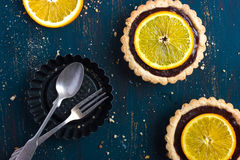Tart with chocolate and orange Royalty Free Stock Images