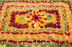 The tart. Closeup of a tart made ​​entirely of fresh fruit Stock Photos