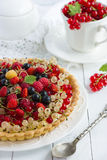 Tart with cream and fresh berries Stock Photography