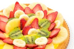 Tart with cream and fresh fruit Stock Photo