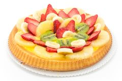 Tart with cream and fresh fruit Stock Images