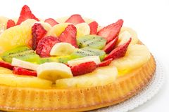 Tart with cream and fresh fruit Royalty Free Stock Photos