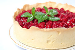 Tart with custard and fresh raspberries Stock Photo