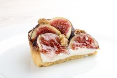 Tart with fig with cheese cream royalty free stock photography