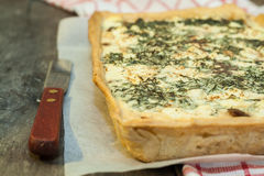 Tart-flan with mushrooms, herbs and cheese Royalty Free Stock Images