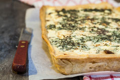 Tart-flan with mushrooms, herbs and cheese Royalty Free Stock Image