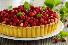 Tart with forest strawberries Stock Photos