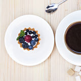 Tart with Fresh berrie. And coffee stock images