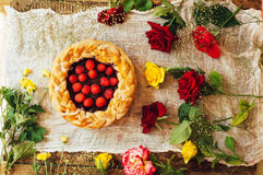 Tart with fresh berries.  Homemade  tart decorated with berries. Food: Cranberry and Raspberry upside down cake. a very natural an Royalty Free Stock Photography