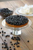 Tart with fresh blueberries on a wooden background.  Stock Images